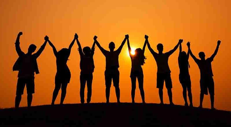 Group Of People Celebration Cheerful Sunset Concept